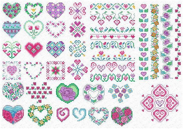 Maria Diaz Designs: HEARTS & FLOWER MOTIFS (Cross-stitch chart)