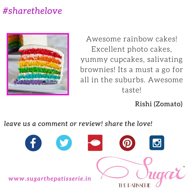 #sharethelove A happy client Rishi sharing the love, telling us what he likes about best on the menu at Sugar  You can also review us on Zomato at www.zomato.com/mumbai/sugar-the-patisserie-santacruz-west and get featured, or leave us a comment right here. Go on, share the love! #sugarthepatisserie #rainbowcake #mumbaieats #zomato #happyclient