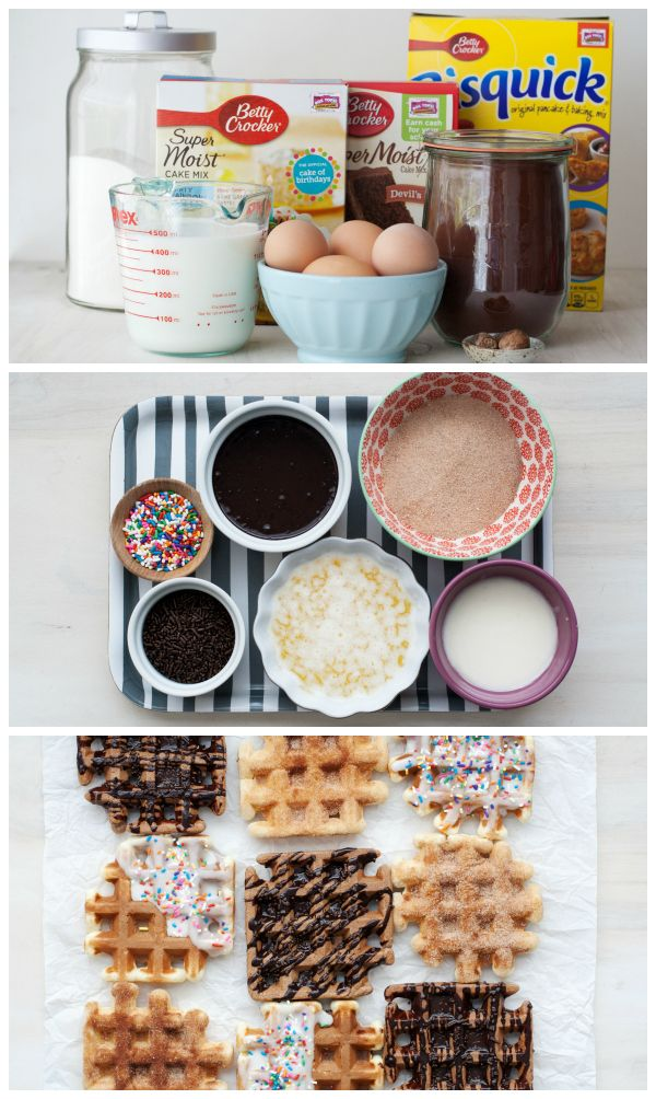 This super-fun doughnut craze is sweeping the nation, and it's so easy to make with the help of a waffle iron, Bisquick and a few pantry ingredients. Fire up the waffle iron and click through for the step-by-step photos and instructions. Top them with your favorite glaze and plenty of sprinkles!