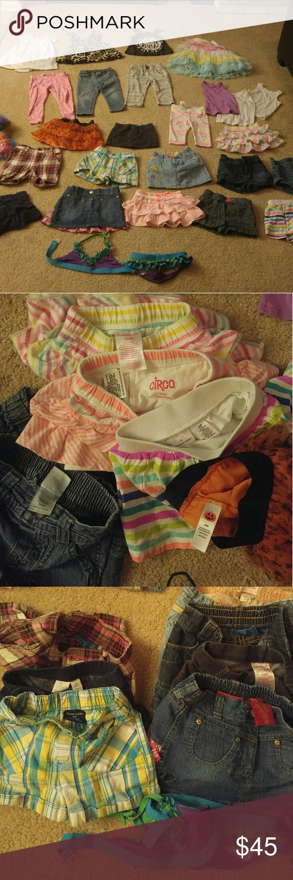 27 Piece Lot of Girls Clothes- a real STEAL! 2 plaid shorts, 4 Jean shorts, 3 Jean skirts, 3 skorts, 1 rainbow capri, 1 pair jeggings,1 jogger, 1 pj pant, 1 Halloween tutu, 3 wife beaters, 1 shine bright tank, 1 Easter Dress, 1 Aztec print body-suit dress, 1 leopard print dress/tunic, 1 winter hat and 1 bikini. Individual pics available upon request. All in great shape! Some never worn. Pet free, smoke free! Other