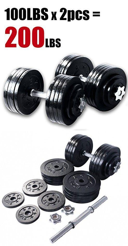 Cast Iron Adjustable Dumbbells 200lbs Black