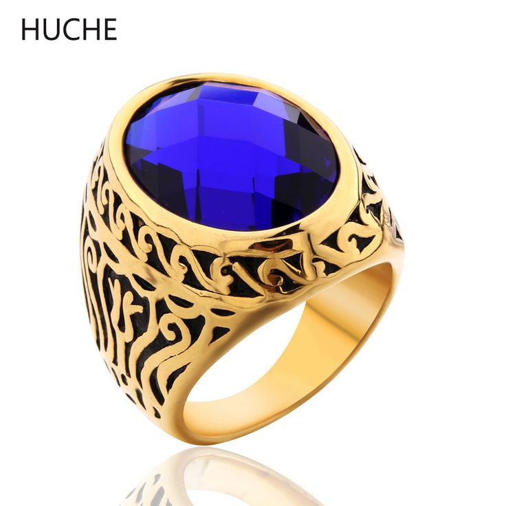 HUCHE Texture Floral Carved Stainless Steel Rings #8-12 Men Large Ring With Black/Sapphire Simulated Gemstone BR074/BR075