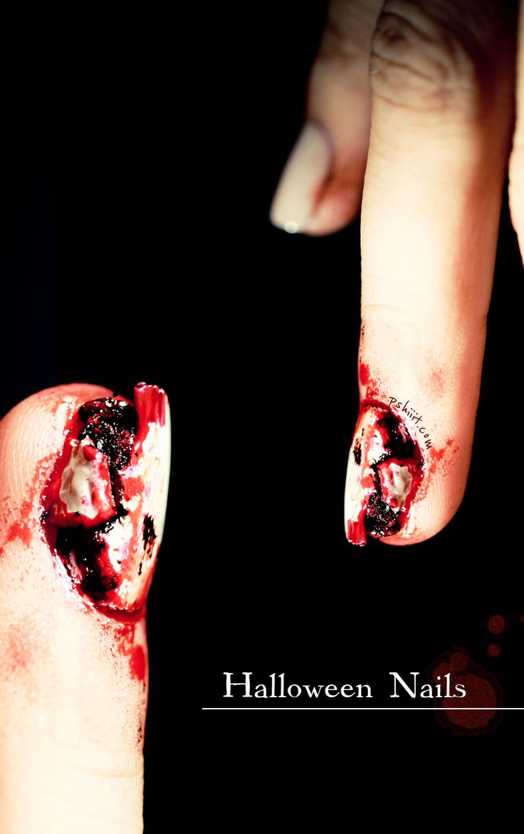 Halloween nail art // Ripped Nail Special effect