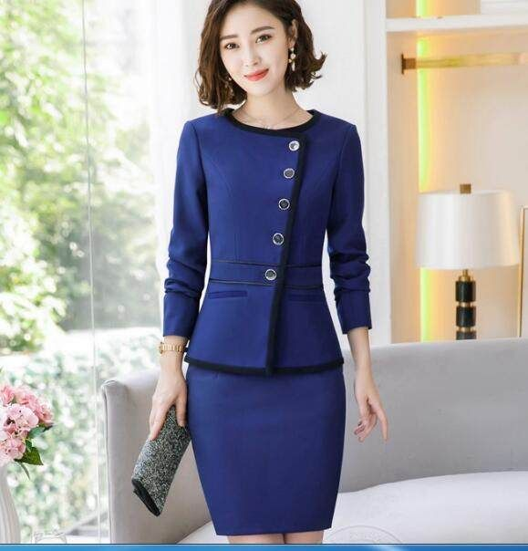 Friendly 2019 Formal Elegant Spring Summer Womens Gray Blue Suit Jacket Female Suits Blazers Office Uniforms Ladies Business Work Wears Blazers
