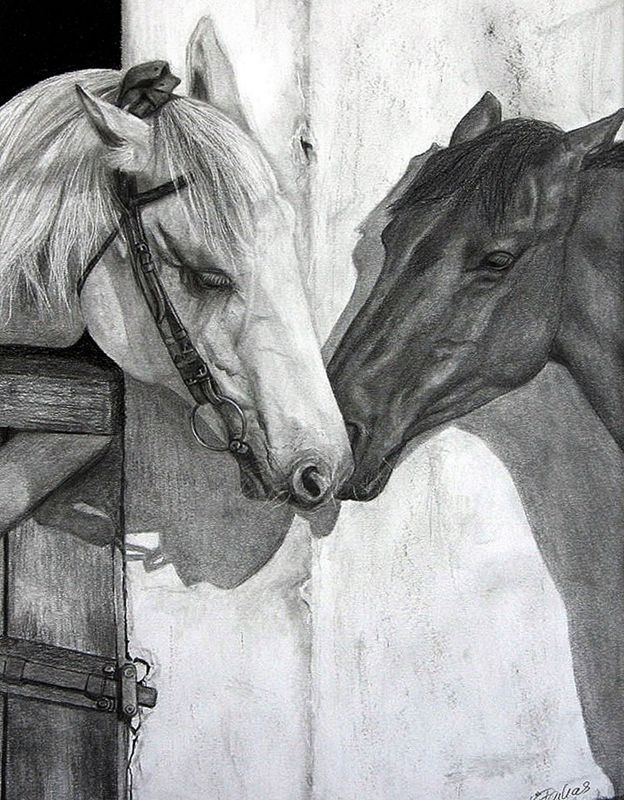 """""""Conjugal visit"""" by Erika Farkas. Pencil drawing on Paper, Subject: Animals and birds, Photorealistic style, One of a kind artwork, Signed on the front, This artwork is sold framed, Size: 41.91 x 52.07 x 3.81 cm (framed), 16.5 x 20.5 x 1.5 in (framed), Materials: Graphite pencils"""