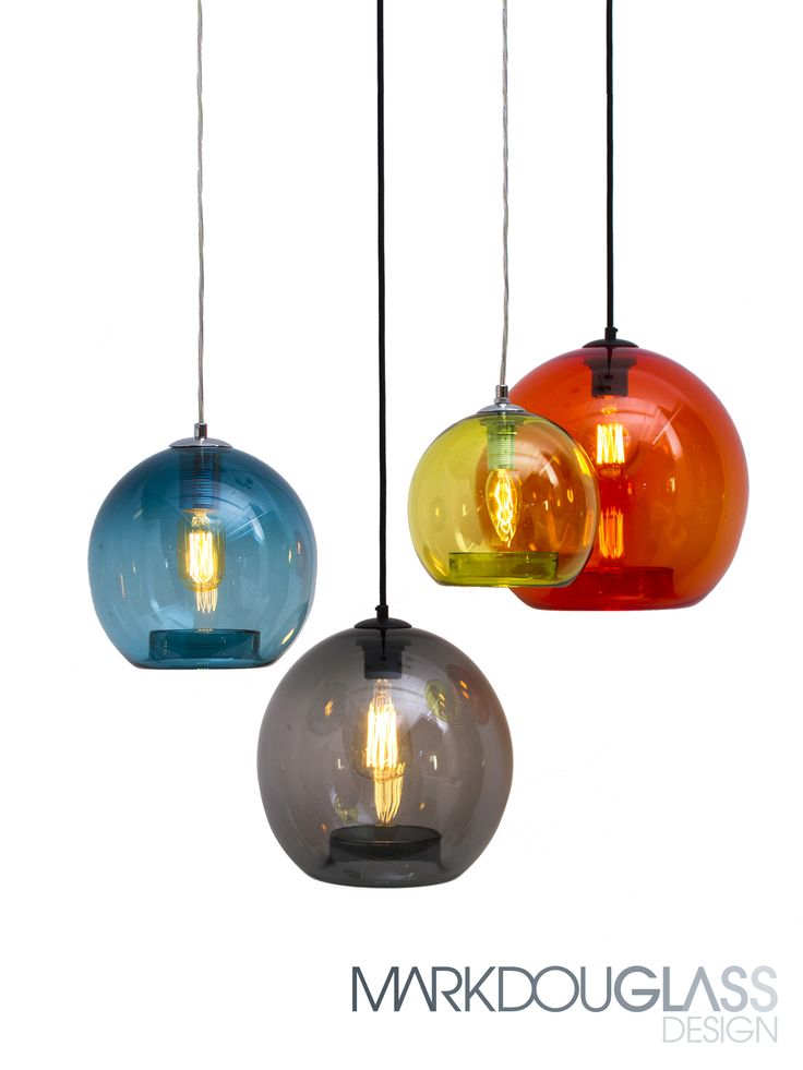 Orbs are hand blown round spheres with a rolled return opening. Suspended in clusters, the overlapping colours create an appealing feature in any interior. #handblownglass