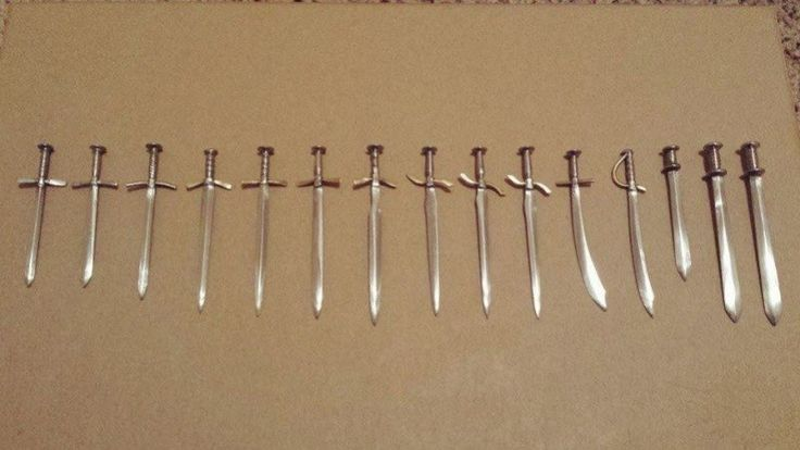 how to make tiny swords from nails (pictures only)