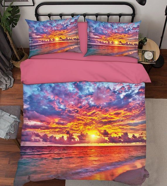 3d Red Sunset D210 Duvet Cover Bedding Set Quilt Cover Quilt Etsy Duvet Covers Bedding Set Bed
