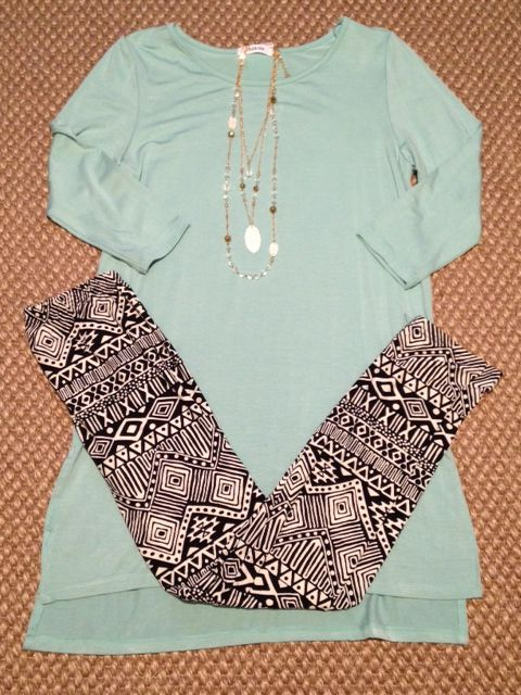 Mint Teal Black White Aztec Chevron Leggings Tunic Top Winter Outfit, Summer Outift, Spring Outfit wardrobe www.facebook.com/thinkpinkboutique1