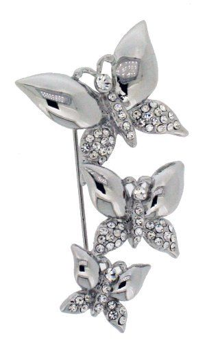Jodie Rose Silver Colour Metal, Clear Crystal Dragonfly Brooch