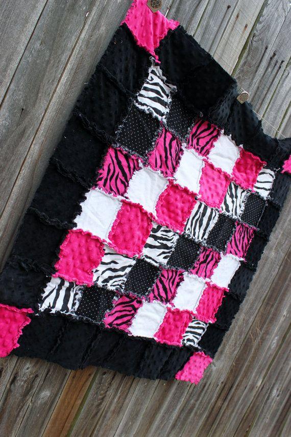 Pink & Black ZEBRA Rag Quilt Blanket! Perfect Zebra nursery, pink and black nursery, girl nursery, pink and black zebra, by BabyBazerk, $75.00