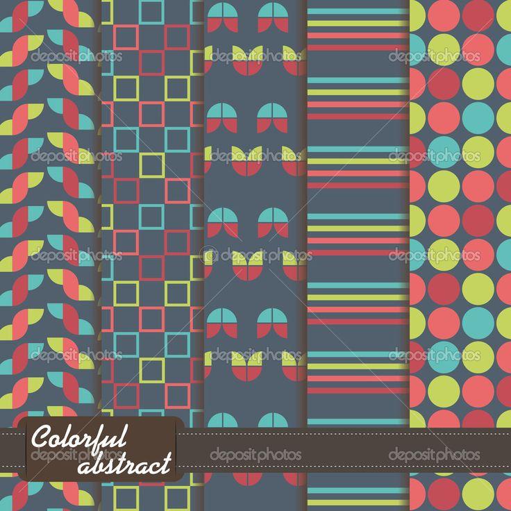 conjunto de patrón abstracto colorido - Ilustración de stock: 26780655