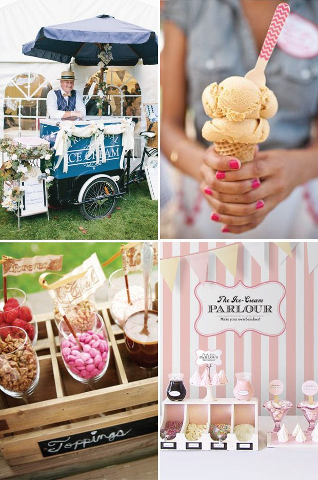 Ice cream wedding food station |  | a delicious new wedding foodie trend | See more great wedding food ideas on www.onefabday.com