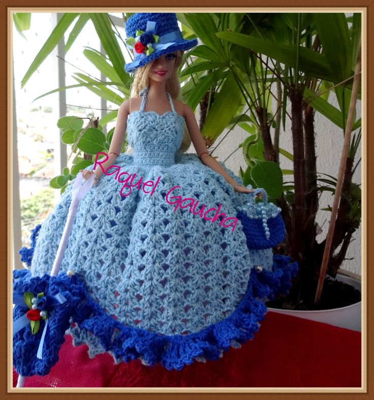 #Supremo #Crochet #Vestido #Barbie #Doll #Muñeca #chapéu #Bolsa #Purse #Sombrero #Hat #Sombrinha #Paragua #Umbrella #RaquelGaucha