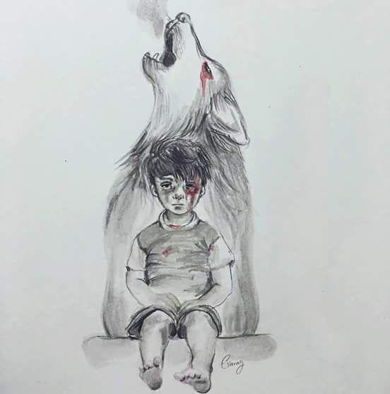 Resultado de imagem para desenhos menino vitima da guerra no iraque
