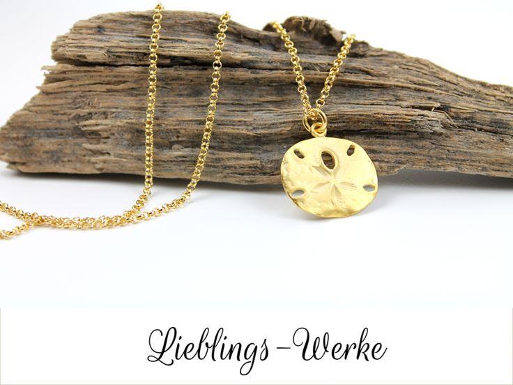 """Vergoldete Ketten - Einzigartig: Kette """"Sanddollar"""" Silber vergoldet - ein Designerstück von Lieblings-Werke bei DaWanda"""