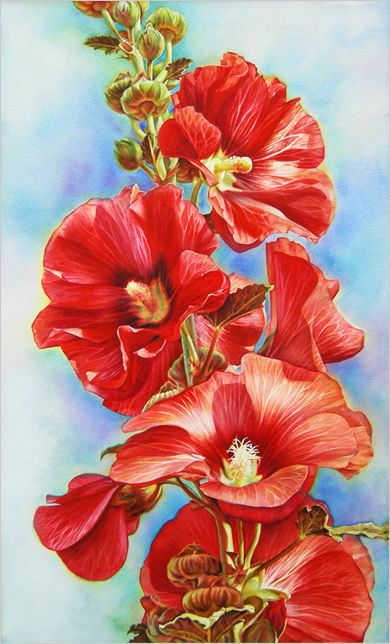 Lisa Lopuk ~ red hollyhock watercolor