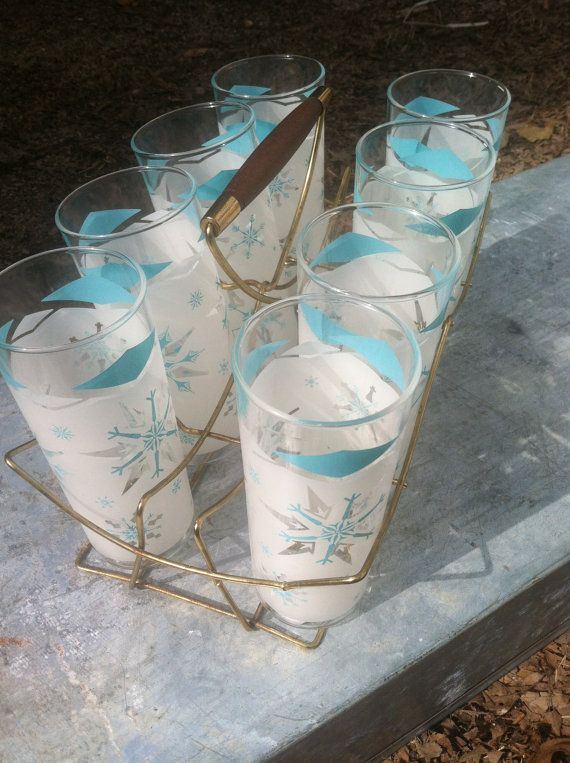 8 mint turquoise and white classes with great rack/ carrier. I just love these vintage 1950s sets