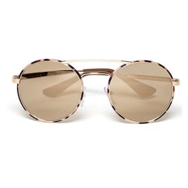 Prada Women's Catwalk Round Tortoise Sunglasses - Mirror Gold (4.300 ARS) ❤ liked on Polyvore featuring accessories, eyewear, sunglasses, round tortoise sunglasses, tortoiseshell sunglasses, mirrored sunglasses, round tortoiseshell sunglasses and round glasses