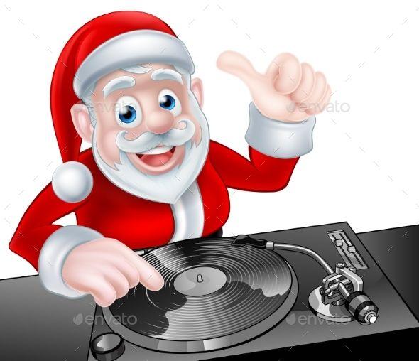 DJ Santa Cartoon