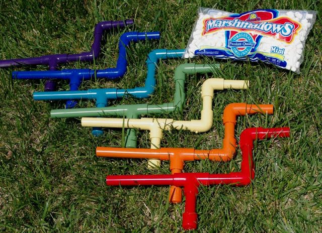 Marshmallow Shooters - Happiness is Homemade 1/2 inch PVC pipe and connectors, runs on kid (or big kid) power and mini marshmallows!!