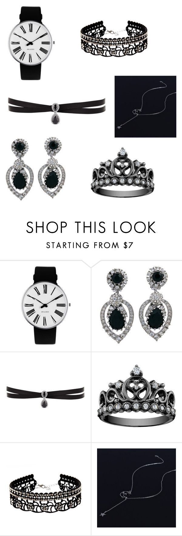 jewelry black set by mary-minge on Polyvore featuring Rosendahl, Fallon, Ciner, Natasha, love and blackandsilver