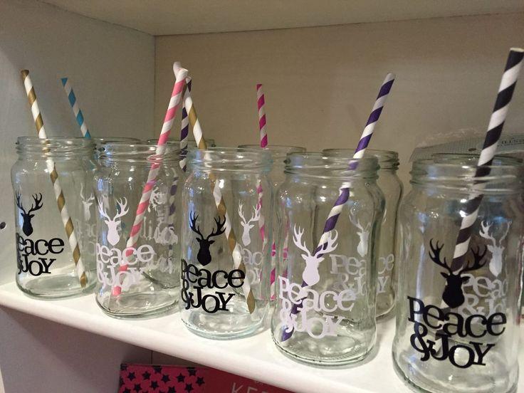 vasos frascos de vidrio con sorbete - c/vinilo personalizado