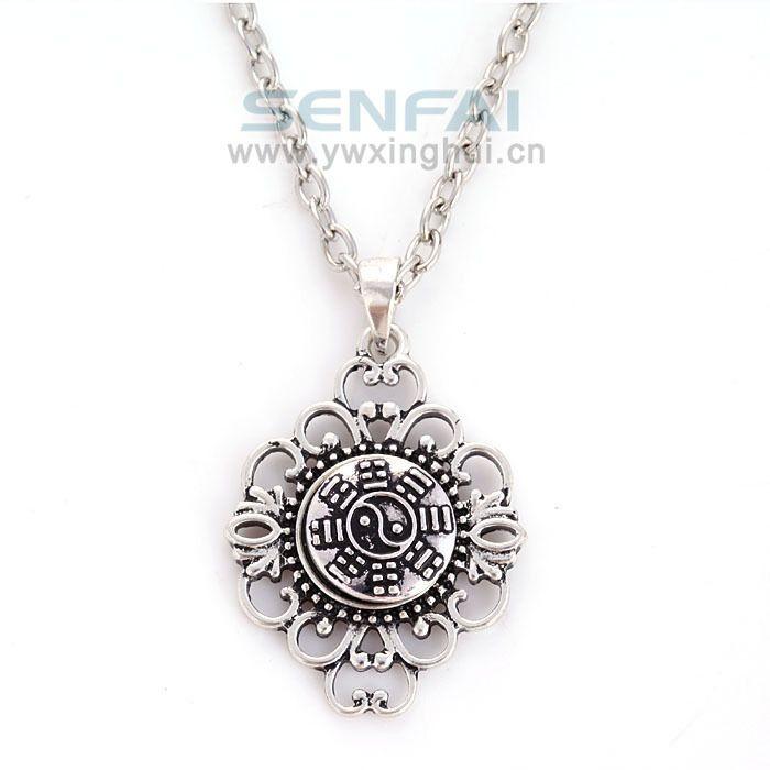 Современное ретро творческий старинное серебро черный и белый инь ян сплава кулон ожерелье, DIY восточные дзен инь ян шарм ювелирные изделия
