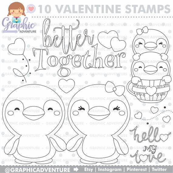cardmaking fall journal happy Penguin- DIGITAL STAMP for scrapbooking planner sticker no-line coloring kids crafts colouring page