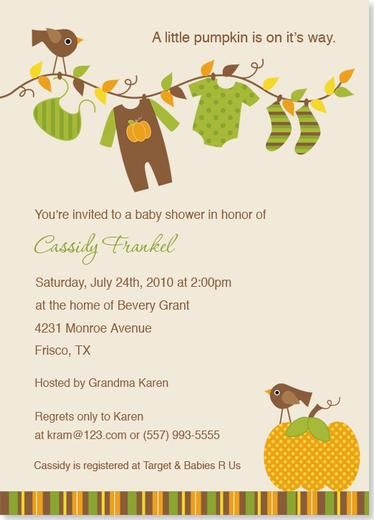 Baby Shower Invitations   Little Pumpkin Baby Shower Invitation    Incorporate In Some Reading/bookworm