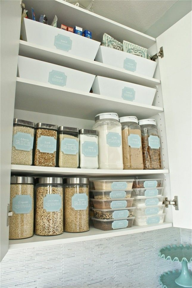Use labels to organize the pantry.