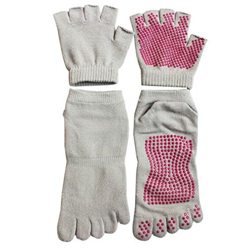 Professional Yoga Socks with Toes and Gloves Set Non Slip Grip with Silicone Dots grey *** Want additional info? Click on the image. (This is an affiliate link)
