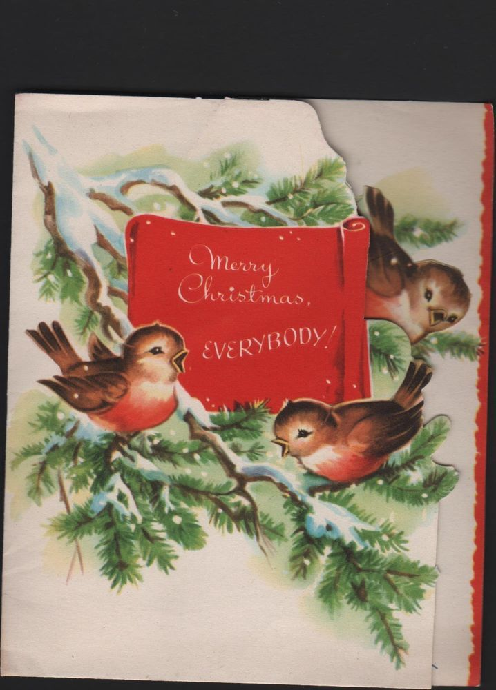 vintage pop-up Merry Christmas Everybody! Greeting Card Birds on tree | eBay
