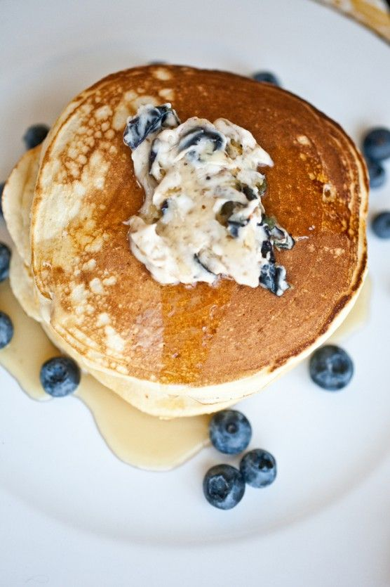 Blueberry pancakes with blueberry butter