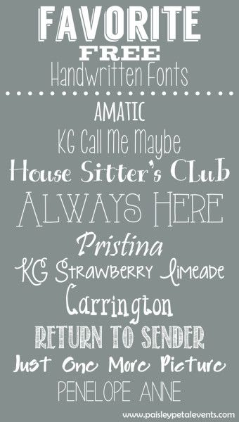 Favorite Free Handwritten Fonts from Paisley Petal Events