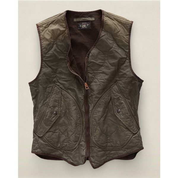 Jenkins Quilted Oxford Vest ($390) ❤ liked on Polyvore featuring outerwear, vests, men, oxford vest, brown quilted vest, brown waistcoat, brown vest and quilted vest