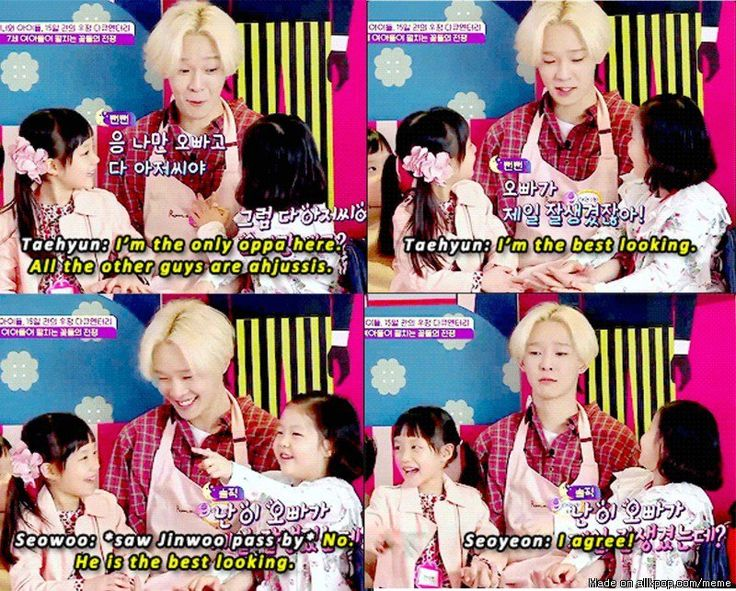 Look at Taehyun's face when the girls said Jinwoo is the best looking.
