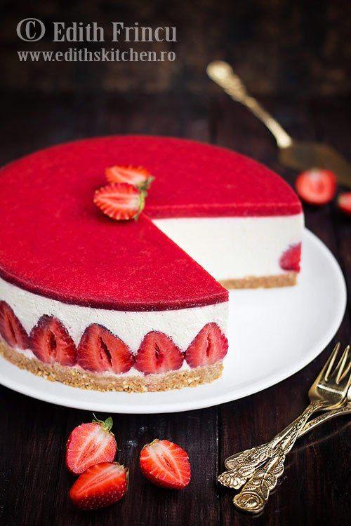 Strawberry cheesecake - No bake - Cheesecake cu capsuni