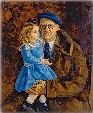 Self-portrait with his granddaughter, 1943  Pyotr Konchalovsky