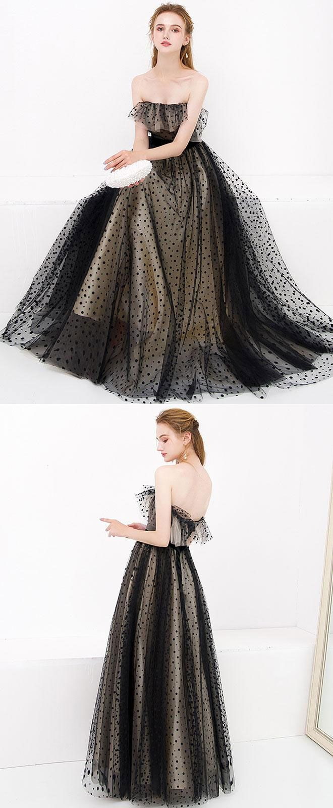 Black tulle long prom dress black tulle evening dress váy