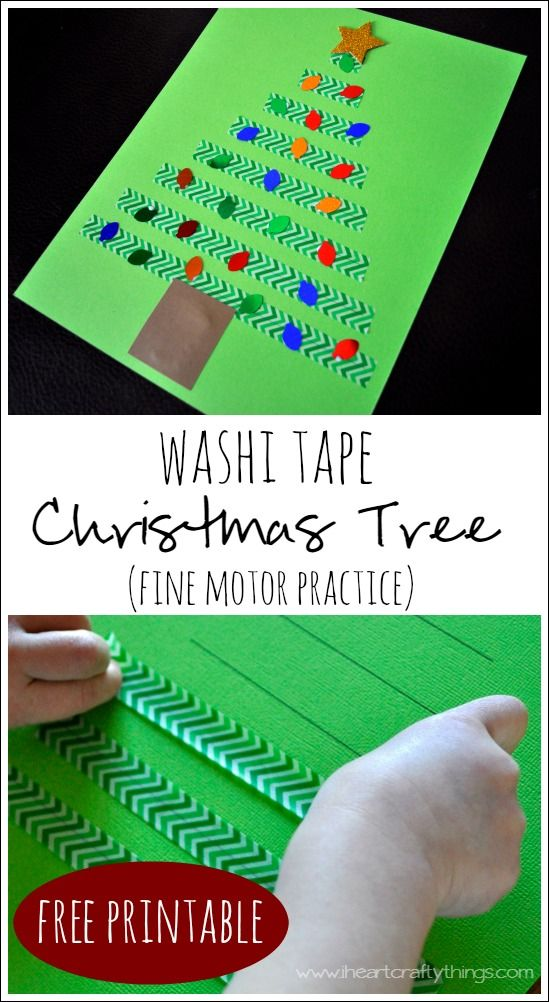 Washi Tape Christmas Tree Craft for Kids. Practice fine motor skills while making a cute Christmas Craft. | From I Heart Crafty Things