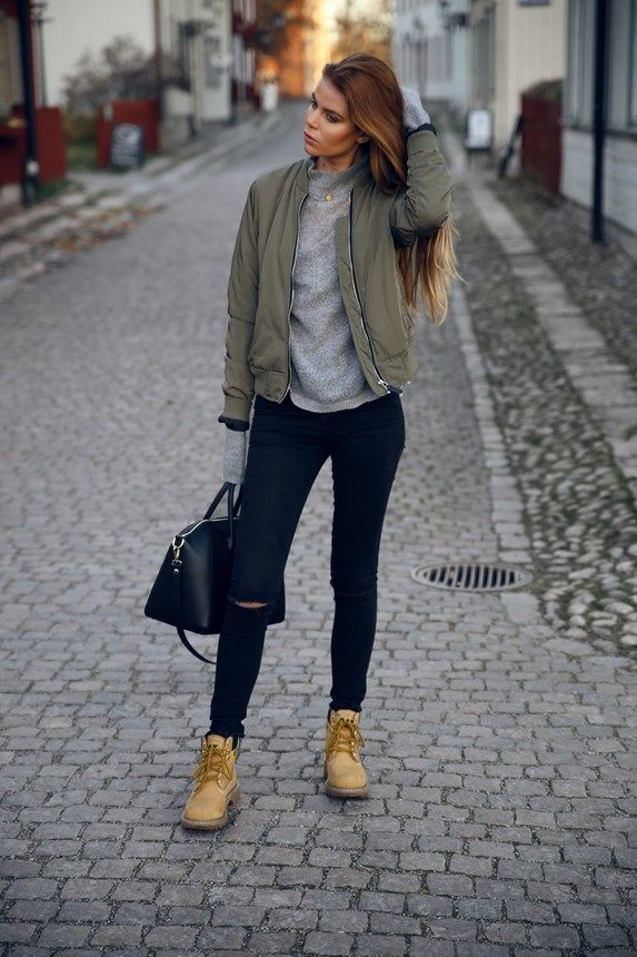 Green Khaki Bomber Jacket - Lager 157 / Grey Sweater - Gina Tricot / Boots http://FashionCognoscente.blogspot.com