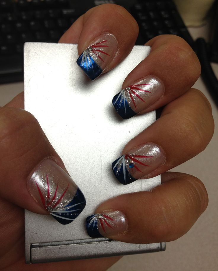 nails patriotic july 4th red white blue