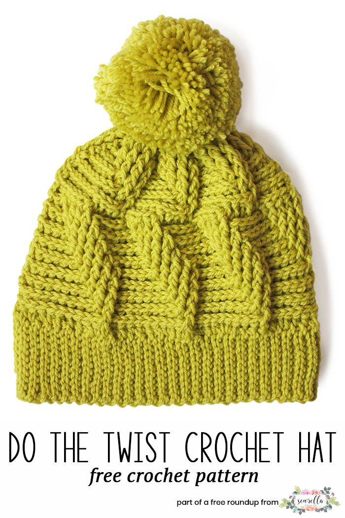 Crochet this cabled do the twist beanie hat from my crochet hats that look knit free pattern roundup!