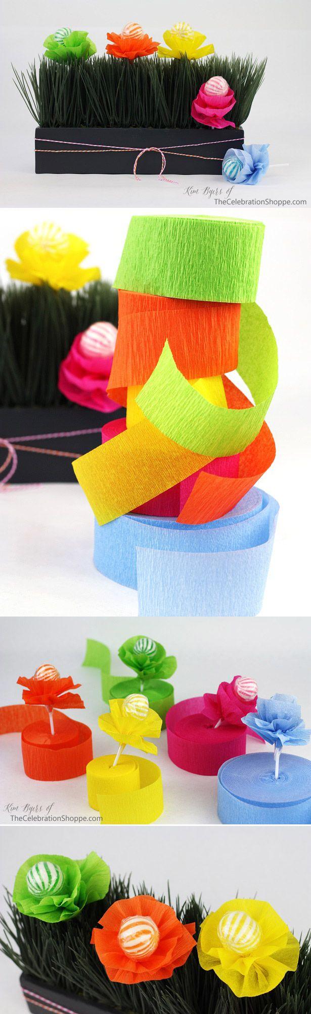 Crepe Paper Flower Lollipop Favor Tutorial | Kim Byers, TheCelebrationShoppe.com