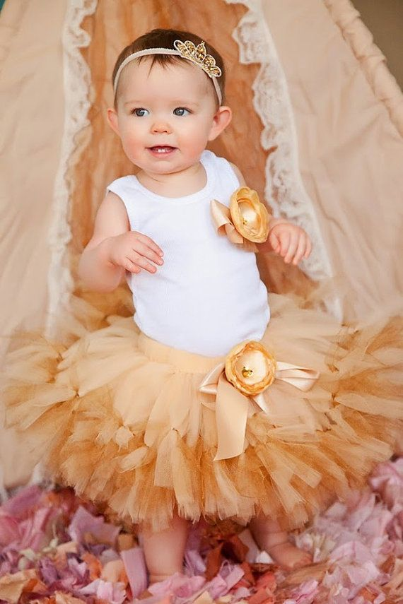 Gold Tutu Baby Girls Birthday Dress Cake Smash by StrawberrieRose