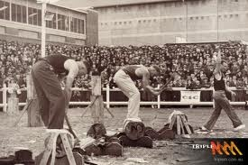 Wood chopping events 1950's royal adelaide show.