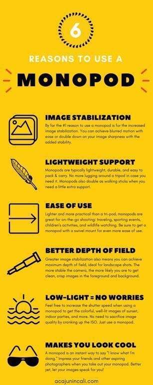 Reasons to Use a Monopod | Photography Tips | Learning to Use a Monopod | Photography Equipment Reviews | Monopod Photography | Improving Photography | How to Get Sharp Images in Low Light | Take Better Photos | Tips for Improving Photography | Best Monopod | Monopod for DSLR | Monopod for Camera | Best Compact Monopod via @acajunincali #cameraequipment