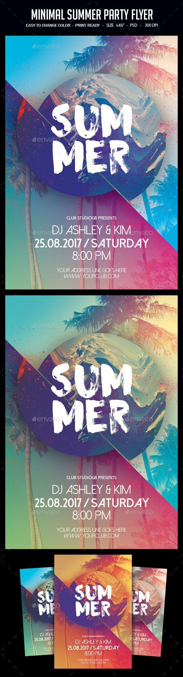 Poster design dimensions - Minimal Summer Party Flyer