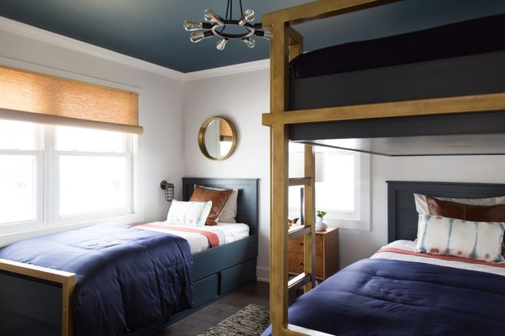 Marie Flanigan Interiors - Brother Vs. Brother - Season 5 - Guest Room - Vacation Home Guest Suite - Bunk Room - Contemporary Bunk Beds - Navy and Brass Bunk Beds